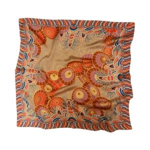 """Изысканный шейный золотистый платок из натурального шелка """"Самобытный китайский зонт"""""""
