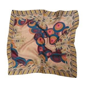 """Милый шейный розовый платок из натурального шелка """"Самобытный китайский зонт"""""""