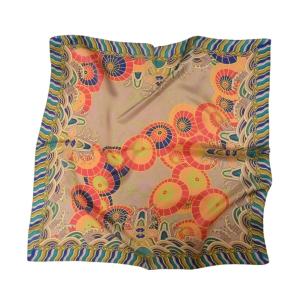 """Изысканный шейный серебристый платок из натурального шелка """"Самобытный китайский зонт"""""""
