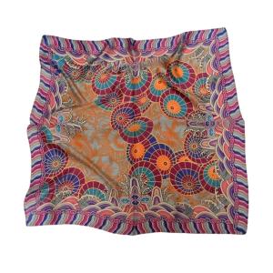 """Изысканный шейный лиловый платок из натурального шелка """"Самобытный китайский зонт"""""""