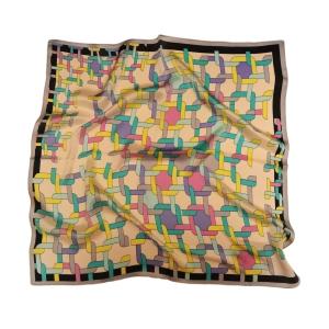 """Очаровательный шейный платок из натурального шелка серебристого цвета """"Калейдоскоп"""""""