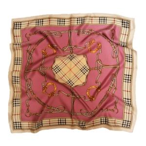 """Стильный шейный платок из натурального шелка розового цвета """"Дерби"""""""