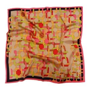 """Очаровательный шейный платок из натурального шелка розового цвета """"Калейдоскоп"""""""