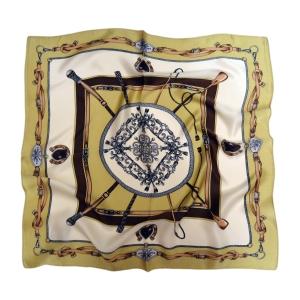 Красочный шейный платок из натурального шелка оливкового цвета