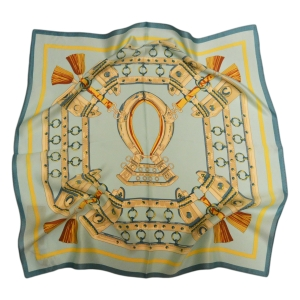 Очаровательный шейный платок из натурального шелка бирюзового цвета «Готика»