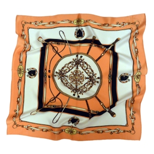 Красочный шейный платок из натурального шелка оранжевого цвета