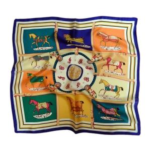 """Красочный шейный платок из натурального шелка «Ансамбль лошадок"""""""