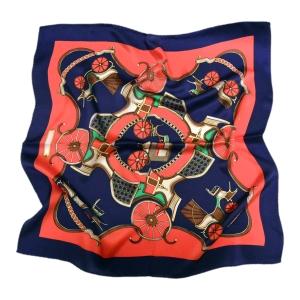 """Экстравагантный шейный платок из натурального шелка """"Сине-алый"""""""