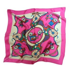 """Экстравагантный шейный платок из натурального шелка """"Серебристо-лиловый"""""""