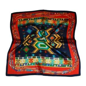 "Шейный платок из натурального шелка синего цвета ""Мотивы Самарканда"""