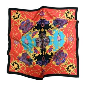 """Изысканный шейный платок из натурального шелка """"Барокко на красном"""""""