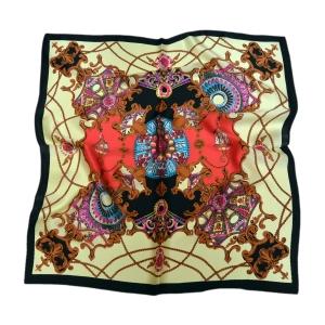 Изысканный шейный платок из натурального шелка «Барокко на лимонном»