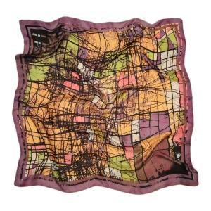 """Интригующий платок из натурального шелка """"Акварель в сиреневых тонах"""""""