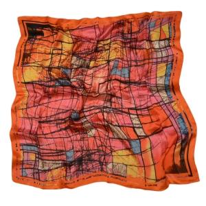 """Позитивный платок из натурального шелка """"Акварель в красно-оранжевых тонах"""""""