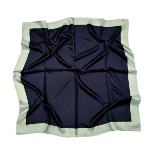 Однотонный платок из натурального шелка синий с голубой полосой