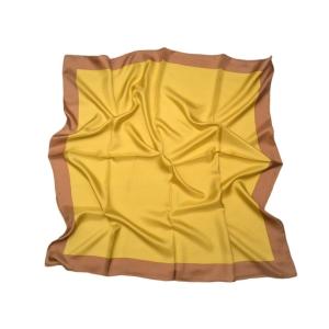 Однотонный платок из натурального шелка горчичный с коричневой полосой