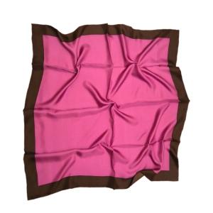 Однотонный платок из натурального шелка фиолетовый с коричневой полосой