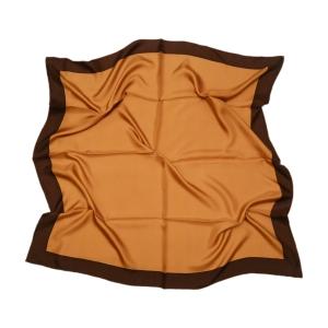 Однотонный платок из натурального шелка терракотовый с темно-коричневой полосой
