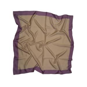 Однотонный платок из натурального шелка светло-серый с фиолетовой полосой