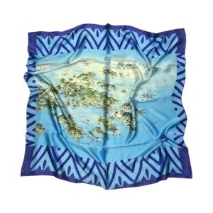 """Оригинальный платок """"Архипелаг"""" голубой с островами из натурального шелка"""