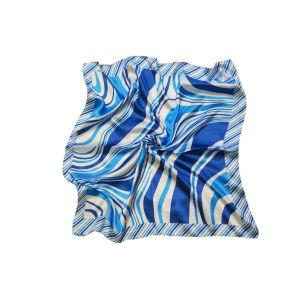 """Женский шейный платок """"Овальная диагональ в пестрой рамке"""" (голубой)"""