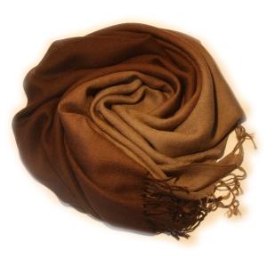Шарф двухцветный бежево-коричневый