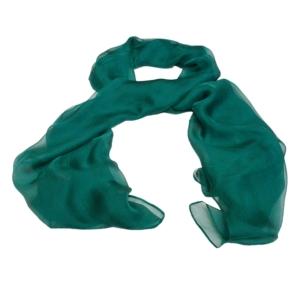 Роскошный однотонный женский шарф из натурального шелка изумрудного цвета