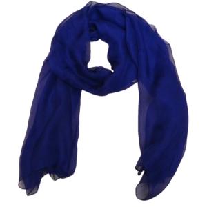Чувственный однотонный женский шарф из натурального шелка цвета индиго