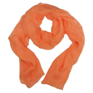 Милый однотонный женский шарф из натурального шелка персикового цвета