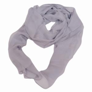 Романтичный однотонный шарф из натурального шелка сиренево-серого цвета