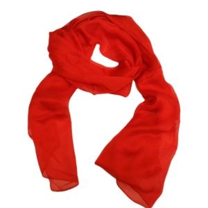 Праздничный однотонный женский шарф из натурального шелка красного цвета