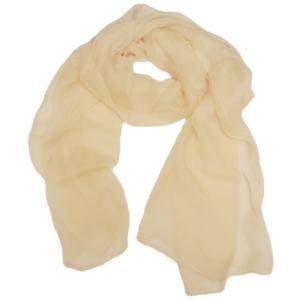 Нежный однотонный женский шарф из натурального шелка кремового цвета