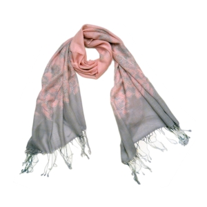 Шарф молодежный стильный серо-розовый шерстяной