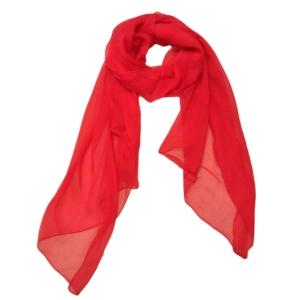 Экстравагантный однотонный женский шарф из натурального шелка оранжевого цвета