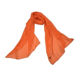 Яркий однотонный оранжевый газовый шарфик из натурального шелка