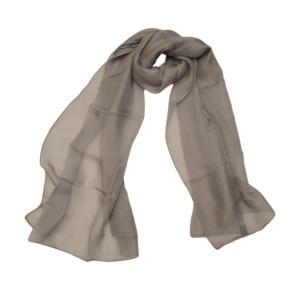 Воздушный однотонный шелковый шарфик серого цвета