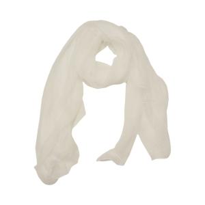 Белый однотонный женский шарф из натурального шелка
