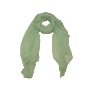 Нежный однотонный женский шарф из натурального шелка мятного цвета