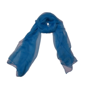 Нарядный однотонный женский шарф из натурального шелка цвета аквамарин