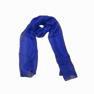 Королевский синий шарфик из натурального шелка