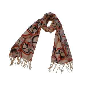 """Стильный шарф из натуральной шерсти """"Розовые овалы"""""""