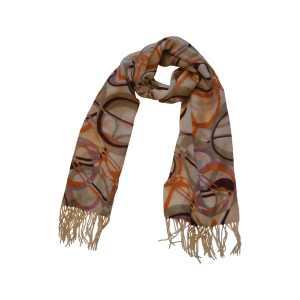 """Великолепный шарф из натуральной шерсти """"Багровые овалы"""""""