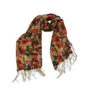 Яркий шарф из натуральной шерсти