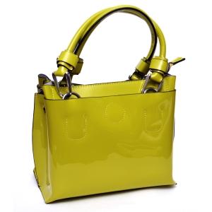 Женская лаковая сумка цвета спелой оливы