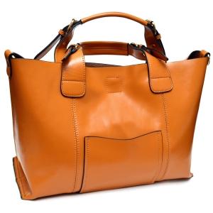 Стильная женская  сумка песочного цвета из натуральной кожи