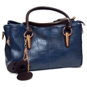 Женская кожаная сумка синего цвета с коричневыми ручками