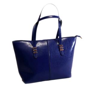 Элегантная женская кожаная сумка синего цвета с высокими ручками