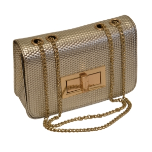 Женская сумочка-клатч серебристая лаковая (нано)
