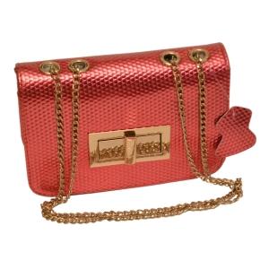 Женская сумочка-клатч розовая лаковая (нано)