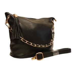 Черная кожаная сумка среднего размера на цепочке с вплетенной кожей